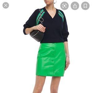 Sandro green leather mini skirt